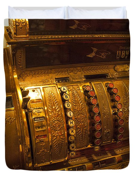 Duvet Cover featuring the photograph Antique Cash Register by Jerry Cowart