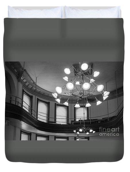 Antique Chandelier In Old Courtroom Duvet Cover