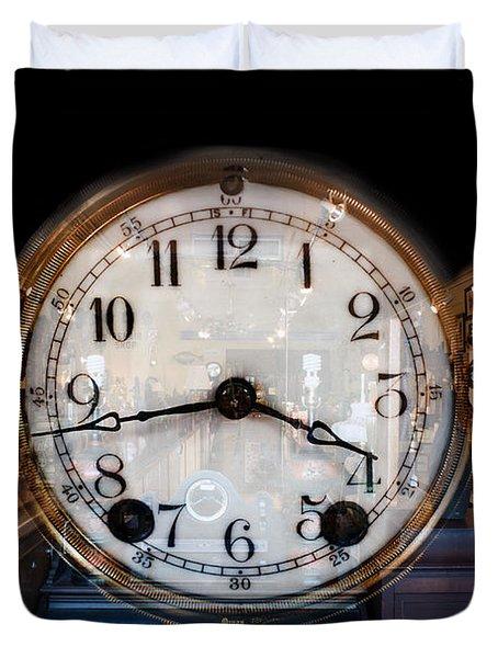 Duvet Cover featuring the photograph Antique Clock Store by Gunter Nezhoda