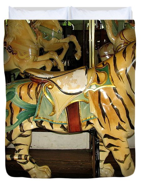 Duvet Cover featuring the photograph Antique Dentzel Menagerie Carousel Tiger by Rose Santuci-Sofranko