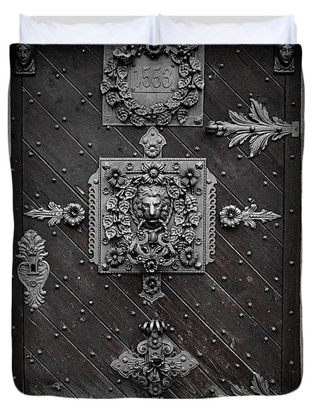 Antique Doors In Budweis Duvet Cover by Christine Till