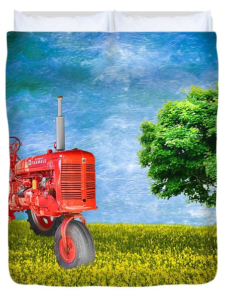 Antique Farmall Tractor Duvet Cover by Fred Larson