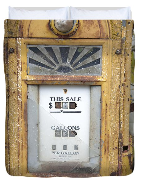 Antique Gas Pump Duvet Cover by Peter French