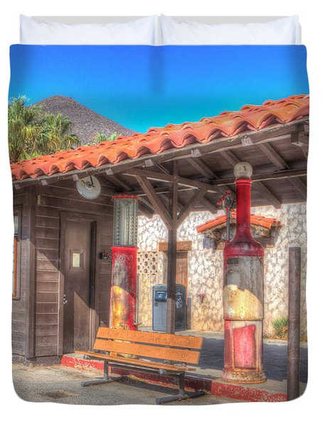 Antique Gas Station Duvet Cover by Heidi Smith