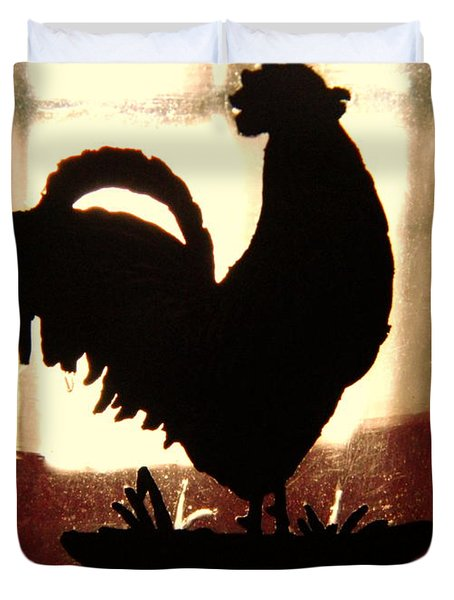 Antique Glass Chicken Silhouette Duvet Cover