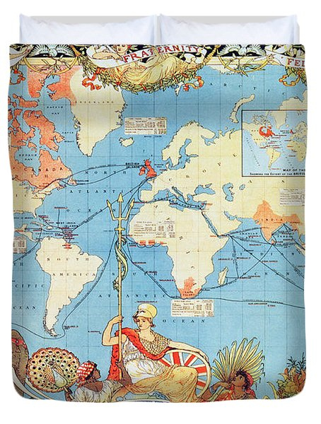 Antique Illustrated Map Of The World Duvet Cover by Anonymous