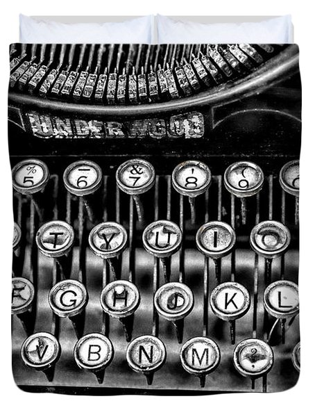 Antique Keyboard - Bw Duvet Cover by Christopher Holmes