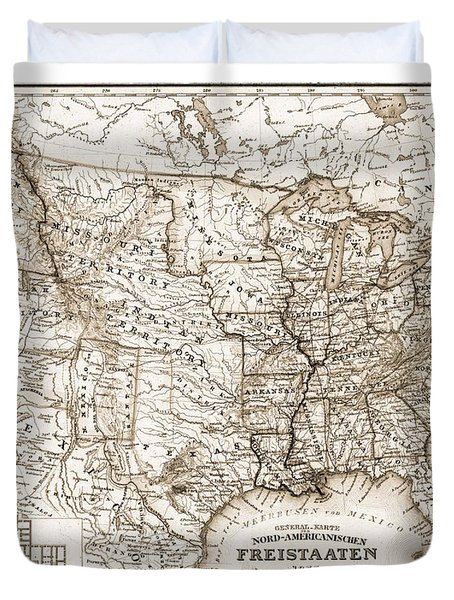 Antique Map 1853 United States Of America Duvet Cover by Dan Sproul