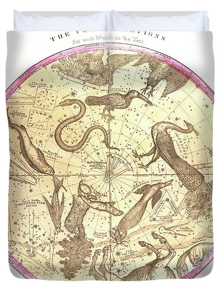 Antique Map Showing Star Charts Duvet Cover