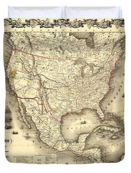 Antique North America Map Duvet Cover