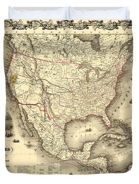 Antique North America Map Duvet Cover