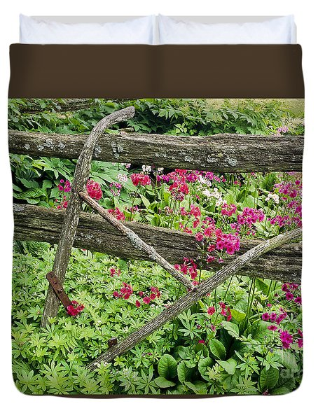 Duvet Cover featuring the photograph Antique Plow Handles by Alan L Graham