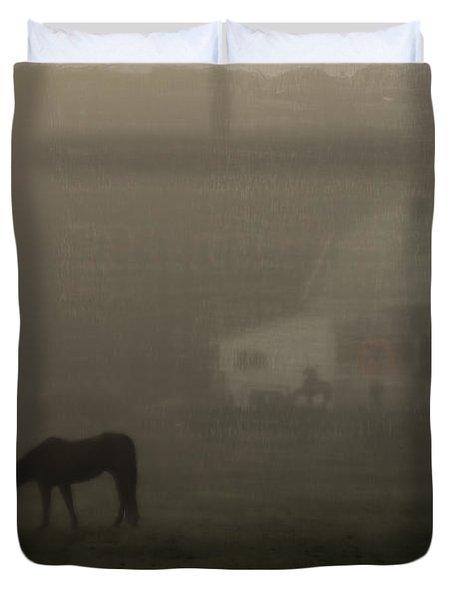 Antique Scene Of Horses In A Fog Duvet Cover by Mick Anderson