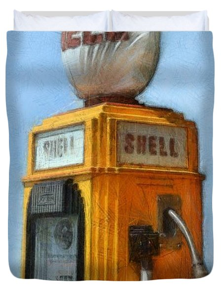 Antique Shell Gas Pump Duvet Cover