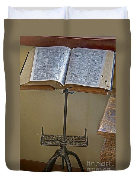 Antique Still Life Reading Stand Duvet Cover