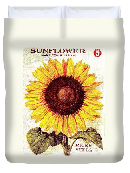 Duvet Cover featuring the painting Antique Sunflower Seeds Pack by Peter Gumaer Ogden