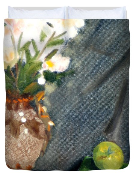 Antique Vase And Flower Duvet Cover by Michael Daniels