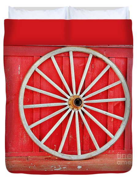 Duvet Cover featuring the photograph Antique Wagon Wheel by Judy Palkimas