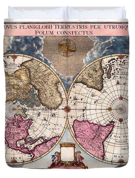 Antique World Map 1695 Novus Planiglobii Terrestris Per Utrumque Polum Conspectus Duvet Cover by Karon Melillo DeVega