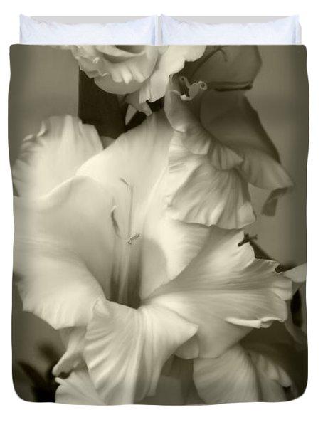 Antiqued Gladiolus Duvet Cover