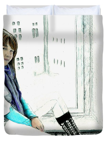 Duvet Cover featuring the drawing Antonela In The Window by Albert Puskaric