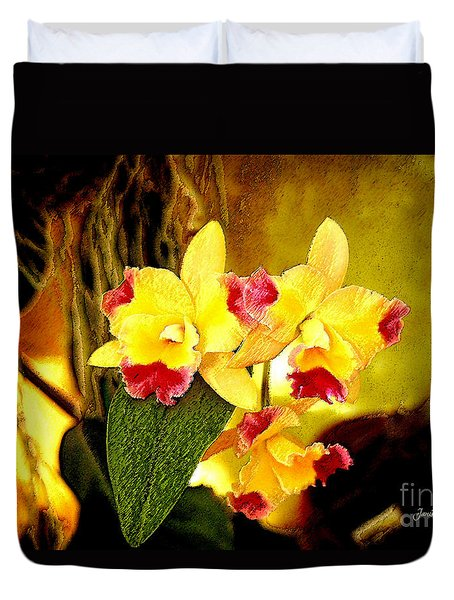 Aos Yellow Orchid 1 Duvet Cover