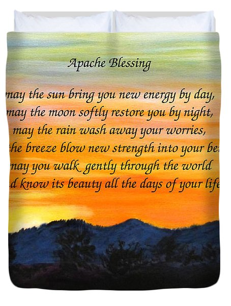Duvet Cover featuring the painting Apache Blessing-sunrise by Linda Feinberg
