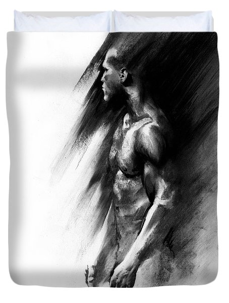 Duvet Cover featuring the drawing Apart by Paul Davenport