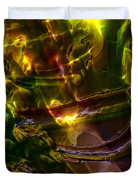 Duvet Cover featuring the digital art Apocryphal - Tilting From Beastback by Richard Thomas