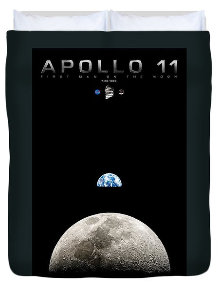 Apollo 11 First Man On The Moon Duvet Cover