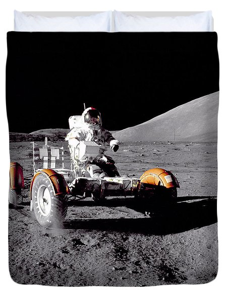 Apollo 17 Moon Rover Ride Duvet Cover by Movie Poster Prints