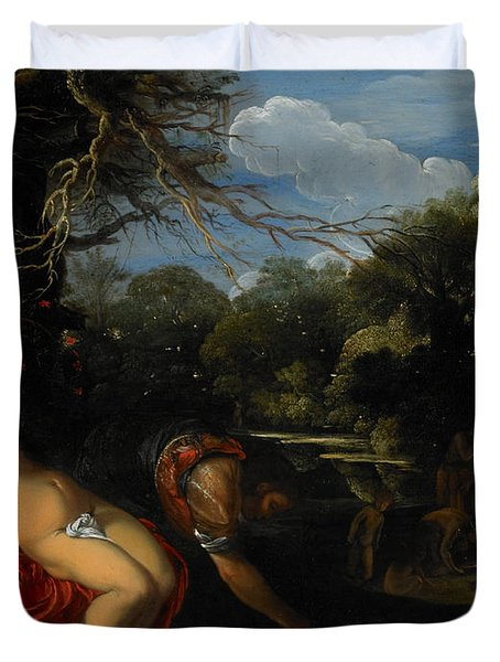Apollo And Coronis Duvet Cover by Adam Elsheimer