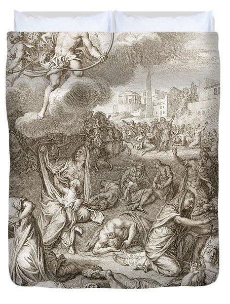 Apollo And Diana Kill Niobe's Children Duvet Cover