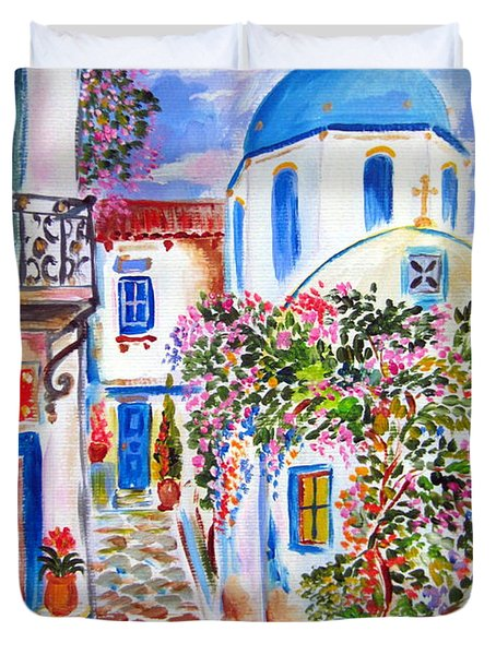 Apotheke In The Greek Island Duvet Cover