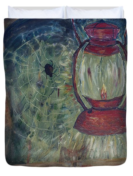 Duvet Cover featuring the painting Appalachian Nights  by Avonelle Kelsey