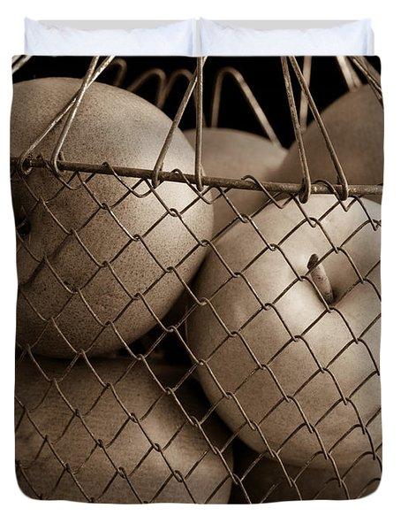 Apple Basket Still Life Duvet Cover by Edward Fielding