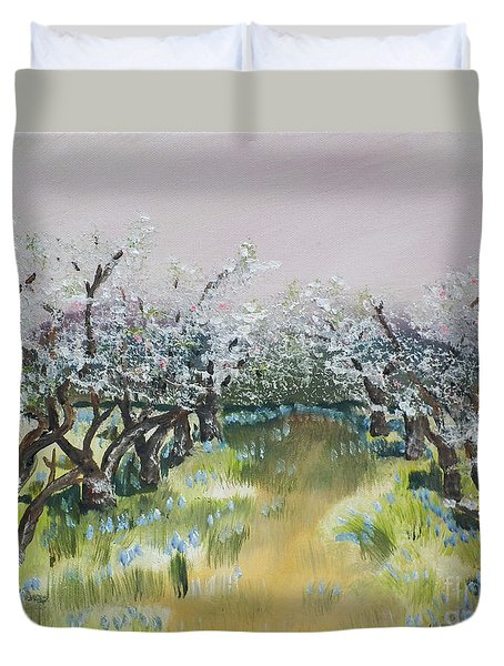 Apple Blossoms In Ellijay -apple Trees - Blooming Duvet Cover