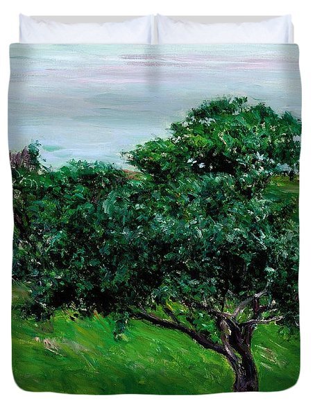 Apple Trees By The Sea Trouville Duvet Cover by Gustave Caillebotte