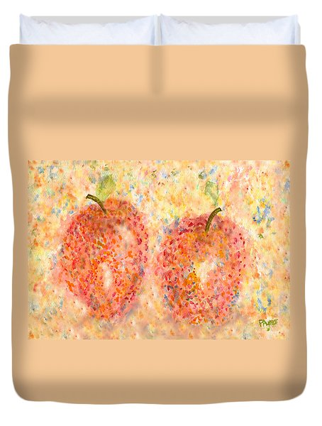 Duvet Cover featuring the painting Apple Twins by Paula Ayers