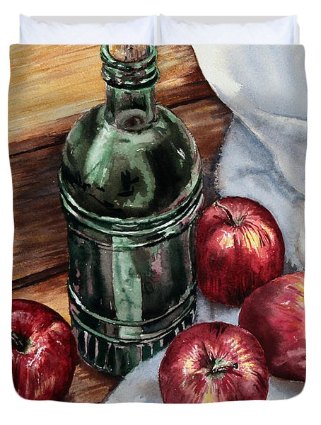 Duvet Cover featuring the painting Apples And A Bottle Of Liqueur by Joey Agbayani