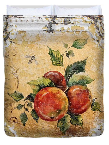 Apples And Bee On Vintage Tin Duvet Cover by Jean Plout