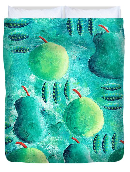 Apples And Pears Duvet Cover by Julie Nicholls