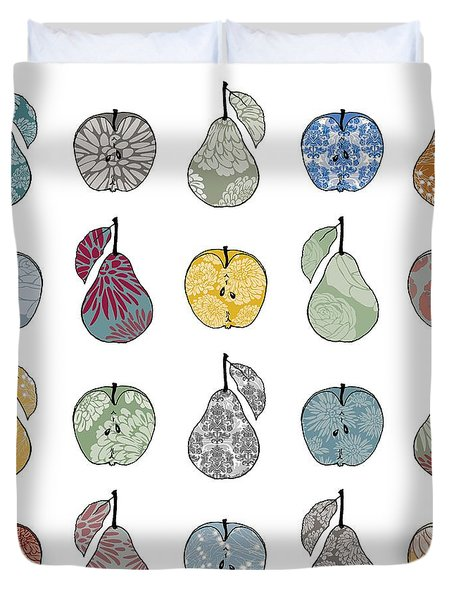 Apples And Pears Duvet Cover by Sarah Hough