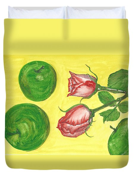 Apples And Roses Duvet Cover