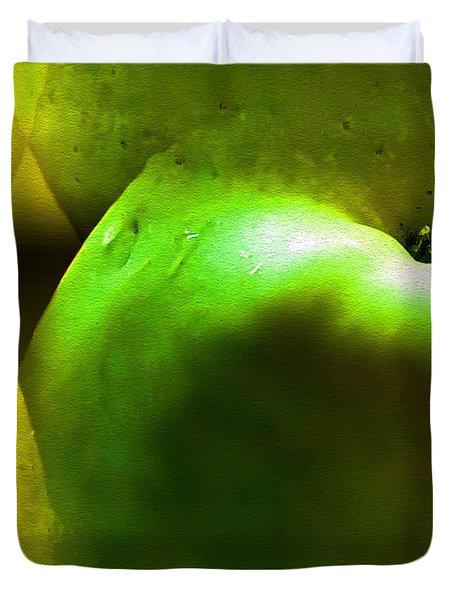 Duvet Cover featuring the digital art Apples by Daniel Janda