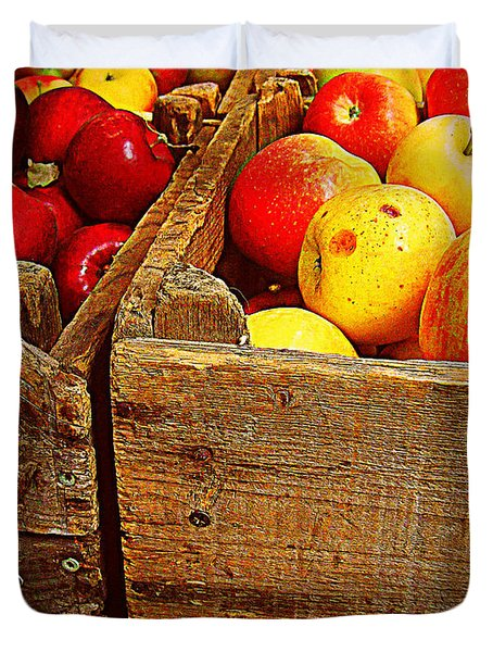 Duvet Cover featuring the photograph Apples In Old Bin by Miriam Danar