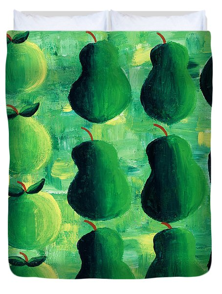 Apples Pears And Limes Duvet Cover by Julie Nicholls