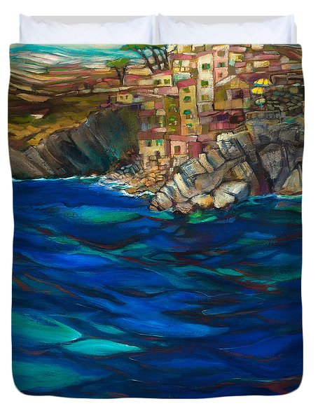 Approach To Riomaggiore Duvet Cover by Jen Norton