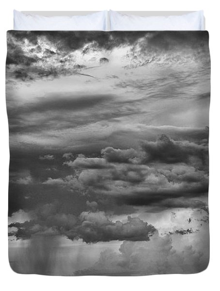 Approaching Storm Black And White Duvet Cover by Douglas Barnard