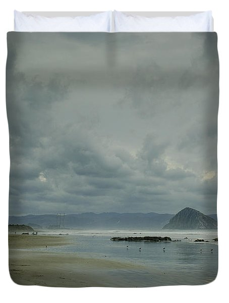 Approaching Storm - Morro Rock Duvet Cover